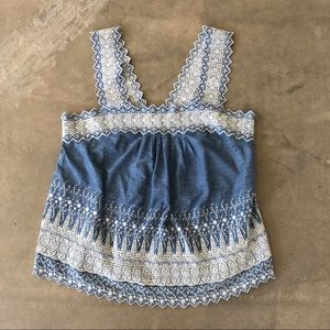 GAP | chambray apron tank with white embroidery